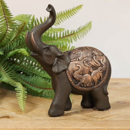 Elephant Figurine With Trunk Raised For Good Fortune Feng Shui Home Decor